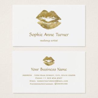 Cartão De Visitas Maquilhador elegante dos lábios do brilho do ouro