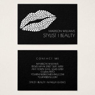 Cartão De Visitas Maquilhador minimalista do estilista dos lábios do