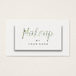 Cartão De Visitas Maquilhador mínimo metálico verde 3D de Cali da