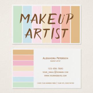 Cartão De Visitas maquilhador pastel da paleta da cor fina moderna
