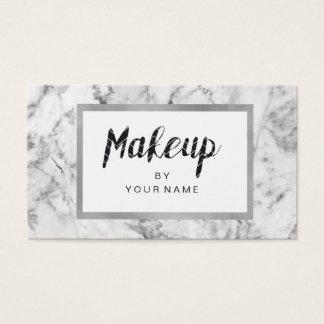 Cartão De Visitas Maquilhador preto de prata branco do quadro de