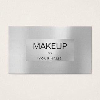 Cartão De Visitas Maquilhador quadro metálico das cinzas de prata