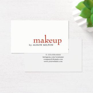 Cartão De Visitas Maquilhador vermelho branco elegante minimalista