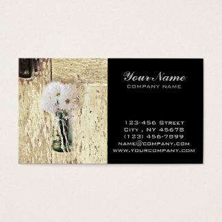 Cartão De Visitas margarida branca de madeira de frasco de pedreiro