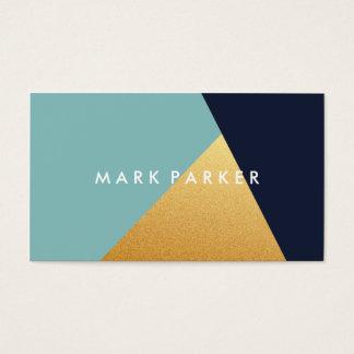 Cartão De Visitas Marinho moderno do falso, bloco geométrico azul do