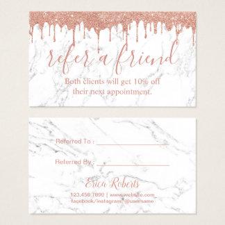 Cartão De Visitas Mármore branco de gotejamento do ouro cor-de-rosa