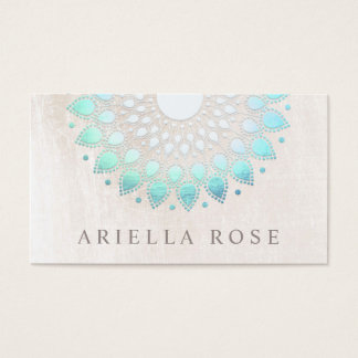Cartão De Visitas Mármore floral do branco de Lotus de turquesa