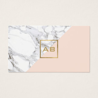 Cartão De Visitas Mármore geométrico moderno/logotipo cor-de-rosa do