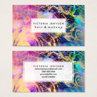 Cartão De Visitas Mármore moderno do ouro na nebulosa pastel da