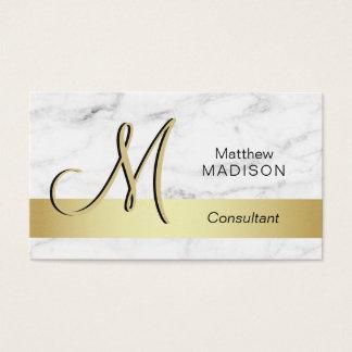 Cartão De Visitas Mármore Monogrammed elegante do branco do preto do