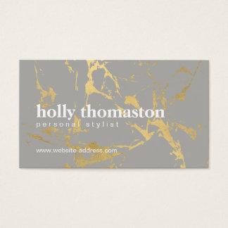 Cartão De Visitas Mármore rachado nervoso do ouro no desenhista