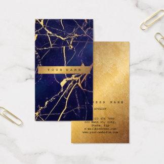 Cartão De Visitas Mármore sujo Vip2 do ouro do marinho azul de