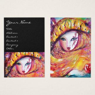 Cartão De Visitas MÁSCARA no AMARELO/artes de palco, estilista