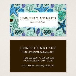 Cartão De Visitas Máscaras de Seashells e do teste padrão azuis da