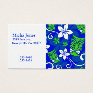 Cartão De Visitas Máscaras florais de Tiki da ilha azul