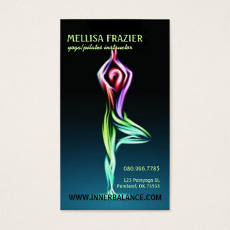 Cartão De Visitas Meditação interna de Pilates da ioga da pose da