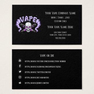 Cartão De Visitas Meios roxos do Social do negócio do crânio de VAPE
