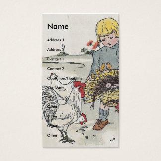 Cartão De Visitas Menina adorável do vintage com galinhas