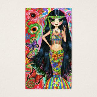 Cartão De Visitas Menina bonito do Hippie do sinal de paz da flor do