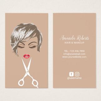 Cartão De Visitas Menina curta moderna do cabelo & do corte de