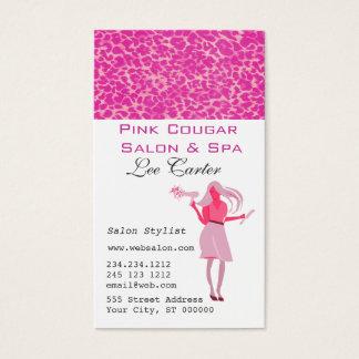 Cartão De Visitas Menina da beleza do puma do rosa do cabeleireiro &