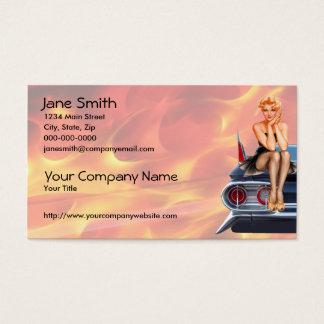 Cartão De Visitas Menina do Pinup do hot rod com chamas