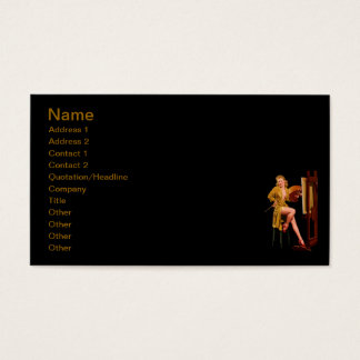 Cartão De Visitas Menina retro do Pinup do artista do pintor de