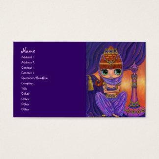 Cartão De Visitas Menina roxa dos génios do dançarino de barriga com