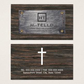 Cartão De Visitas Metal das iniciais do monograma & cruz de madeira