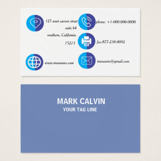 Cartão De Visitas Metal liso azul elegante profissional