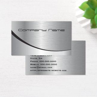 Cartão De Visitas Metal preto de prata moderno elegante profissional