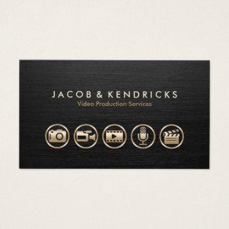 Cartão De Visitas Metal preto dos ícones video do ouro dos serviços
