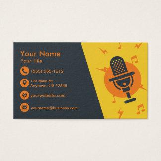 Cartão De Visitas Microfone amarelo e alaranjado