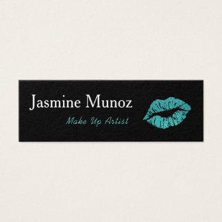 Cartão De Visitas Mini A cerceta & o preto compo o beijo do batom do