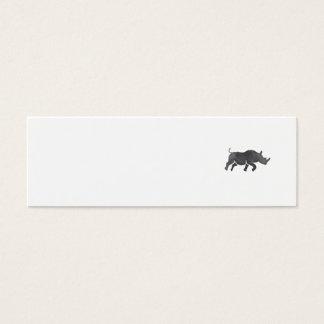 Cartão De Visitas Mini Aguarela Running da silhueta do rinoceronte