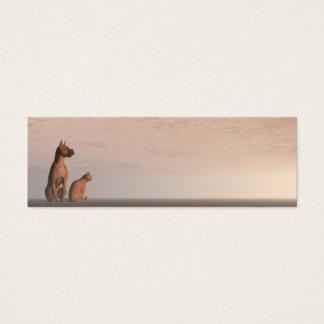 Cartão De Visitas Mini Amizade do cão e gato