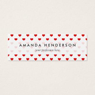Cartão De Visitas Mini Amor vermelho do teste padrão do coração