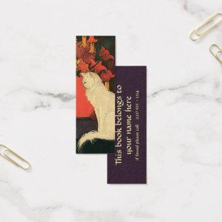 Cartão De Visitas Mini Animais do vintage, gato branco elegante, flores
