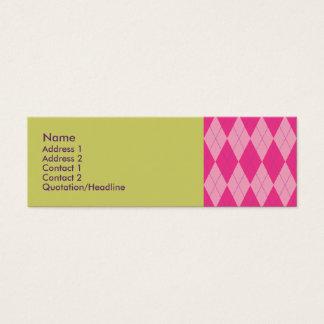 Cartão De Visitas Mini Argyle cor-de-rosa