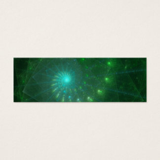 """Cartão De Visitas Mini """"Arte do Fractal do sem-fim verde quadrado"""""""