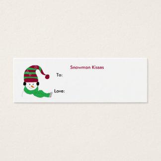 Cartão De Visitas Mini Beijos do boneco de neve - Tag do presente