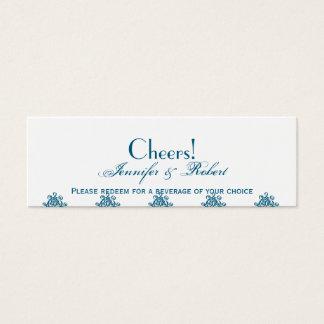Cartão De Visitas Mini Bilhete azul marroquino da bebida do casamento