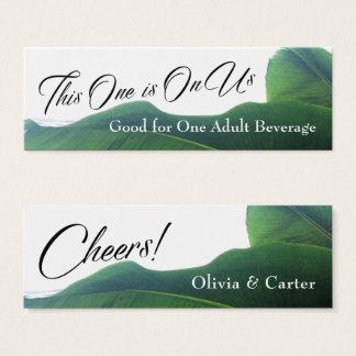 Cartão De Visitas Mini Bilhetes da bebida com as folhas verdes tropicais