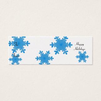 Cartão De Visitas Mini Boas festas, flocos de neve azuis