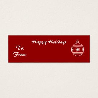 Cartão De Visitas Mini Boas festas, ornamento no fundo vermelho