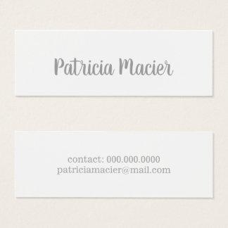 Cartão De Visitas Mini branco elegante do roteiro-pia-estilo & moderno