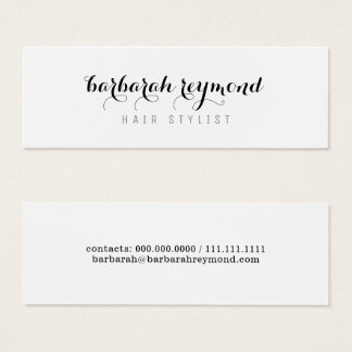 Cartão De Visitas Mini branco profissional da beleza mínima do