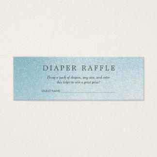 Cartão De Visitas Mini Brilho azul do Raffle | Ombre da fralda do chá de