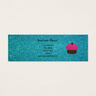 Cartão De Visitas Mini Brilho cor-de-rosa bonito de turquesa do cupcake
