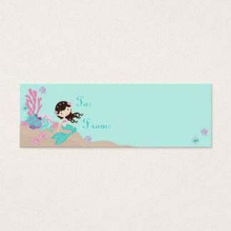 Cartão De Visitas Mini Brunette pequeno do Tag S do presente da sereia TY
